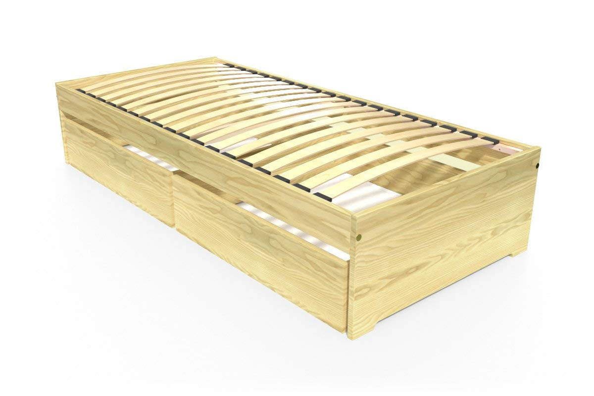ABC MEUBLES - Einzelbett Malo 90x190 cm + Schubladen - TOPMALO90T - Honig, 90x190