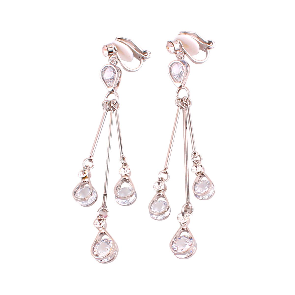 Grace Jun Women's Platinum Plated Water Drop Shape Drop Earrings and Clip on Earrings No Pierced (Silver ear clip)