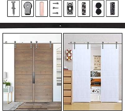Herraje para Puerta Corredera Acero Inoxidable Kit de Accesorios, Guia Riel Puertas Correderas, Forma Cabeza redonda: Amazon.es: Bricolaje y herramientas