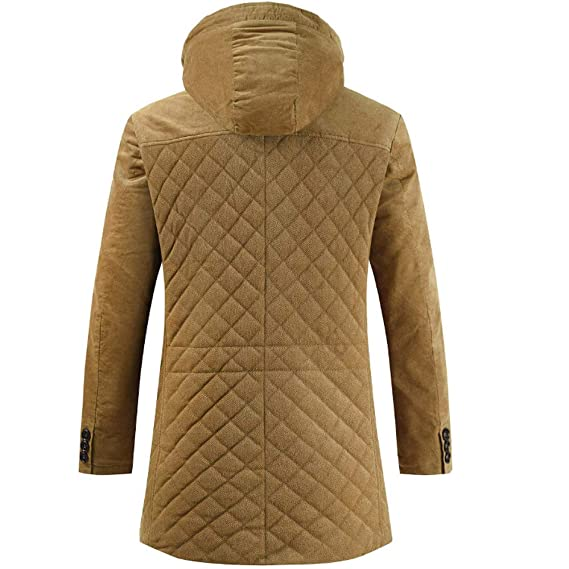 Amazon.com: Mens Lightweight Jacket with Hood. Mens Winter Mid Length Cotton Padded Jacket Warm Cotton Coat: Clothing