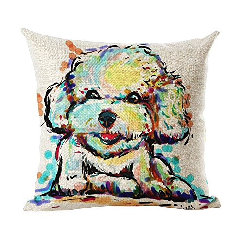 Griffith.MJ White Poodle lkwu1179 Decorative Cotton Linen Blend Throw Pillow Cover Square Pillow Case Cushion Cover 18 x 18 Inches ()