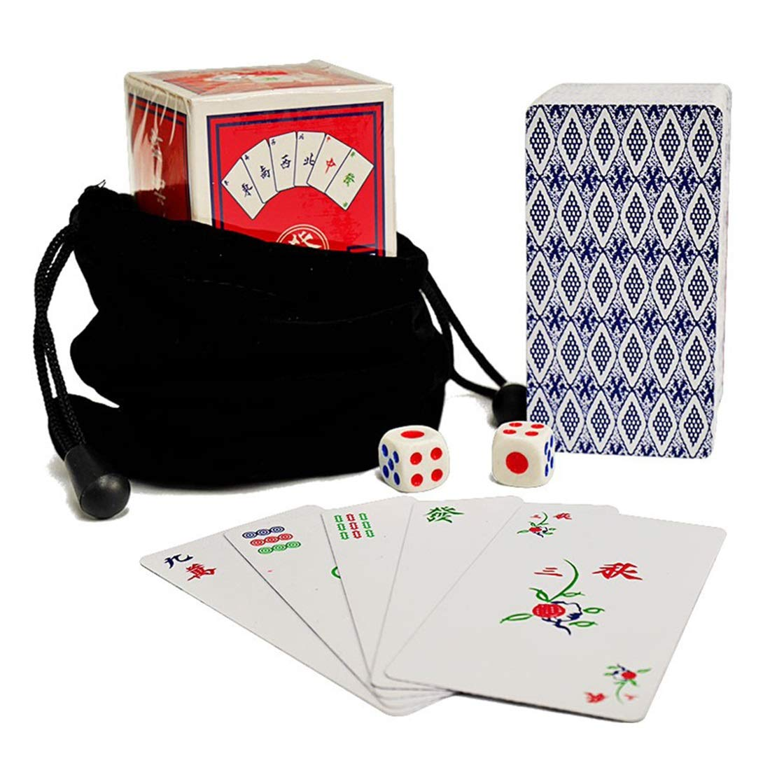 Hexiansheng Waterproof Portable Plastic Mahjong Playing Cards Set with 2 Dices Flannelette Bag Travel Mahjong Poker Card for Gift Party Family Game ( Size   A )