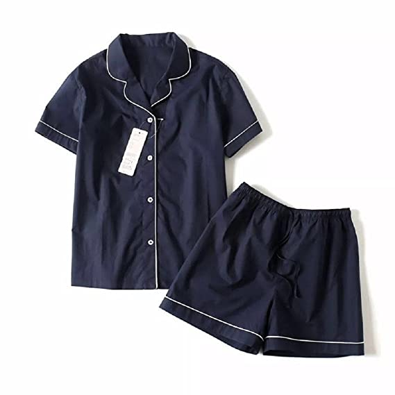 Ellse Short Sleeved Pajamas Women s Summer Comfort Casual Tracksuit Two- Piece Blue S 8bc719c0a