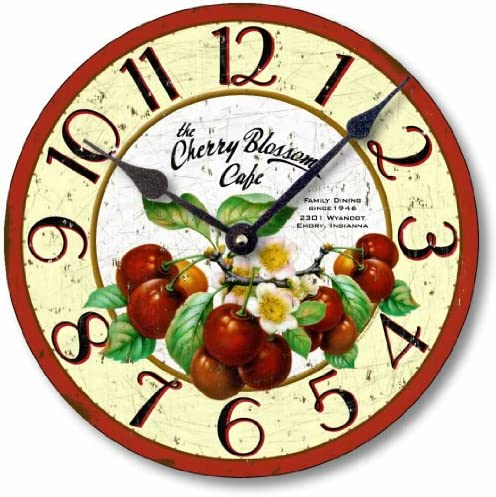 Fairy Freckles Studios Item C2019 Vintage Style 10.5 Inch Retro Cherries Clock