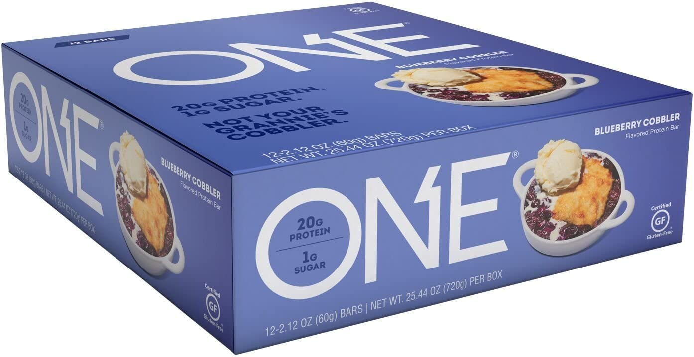 ONE Protein Bars, Peanut Butter Chocolate Cake, Gluten Free Protein Bars with 20g Protein and only 1g Sugar, Guilt-Free Snacking for High Protein Diets, 2.12 oz 12 Pack