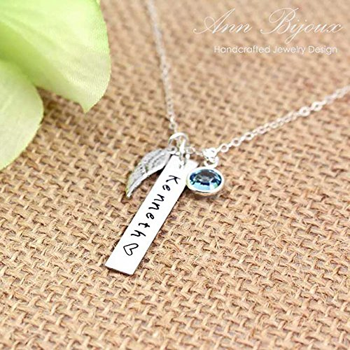 Hand Stamped Silver Jewelry - Personalized Sterling Silver Bar Necklace, Hand Stamped Jewelry, Sterling Silver Angel Wing, Mother & Daughter Necklace, Custom Necklace