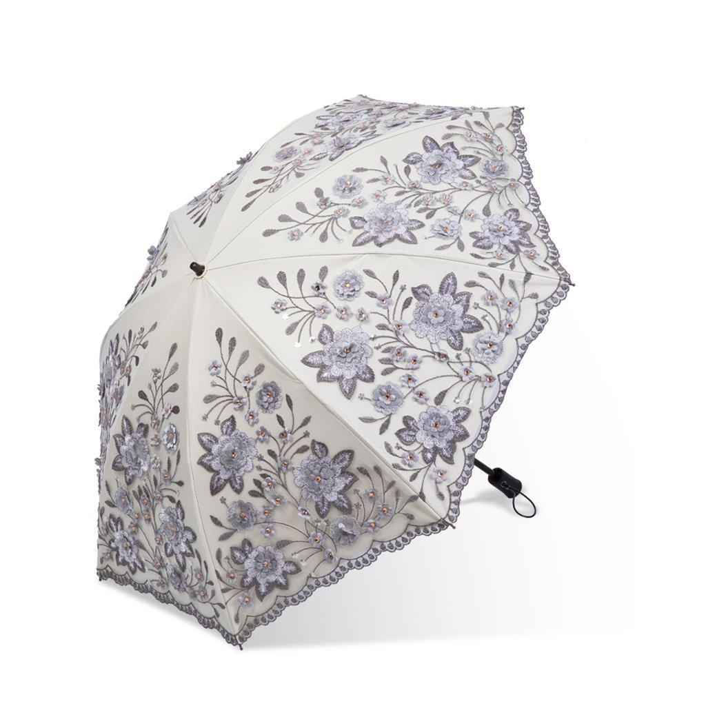 GWM 折りたたみ傘、女性のための黒い抗紫外線層パラソルの中のコンパクトなレース旅行日焼け止め33cm (Color : Gray) B07TG8YHRC Gray