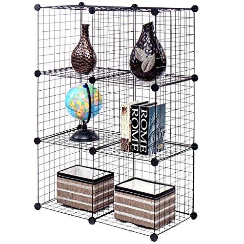 New Black Wire Cube Shelves DIY 6 Cube Grid Organizer Wardrobe Organizer Bookcase Shoe (Oak Open Bookcase Single Light)