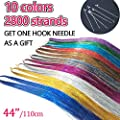 """AllBeauty 44"""" Hair Tinsel 10 Colors 2800 Strands Sparkling Shiny Hair Flairs Extensions Party Highlights Glitter Extensions Multi-Colors Hair Streak Synthetic Hairpieces"""
