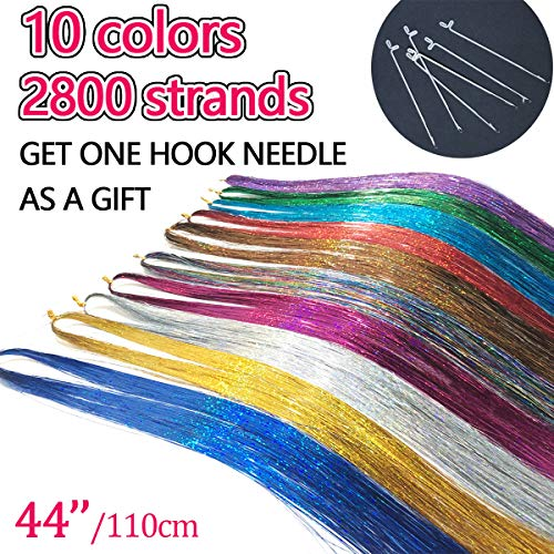 Allbeauty Hair Tinsel Strands Kit 44 Inches 10 Colors Tinsel Hair Extensions 2800 Strands Fairy Hair Kit With Tool Heat Resistant Glitter Sparkling Shiny Hair Dazzle (10 Colors/Pack)