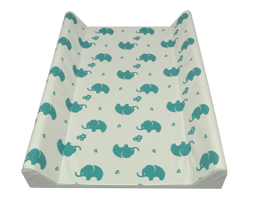 AsMi Colchón para cambiar pañales, diseño de elefantes Elefant Mondstein Blau Talla:70 x 50 II - cuña 71468