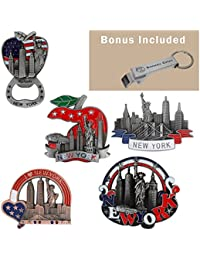 Want 5 Set New York Souvenir - Metal Fridge Magnet - Freedom Tower, Statue of Liberty, Empire State Building, Brooklyn... offer