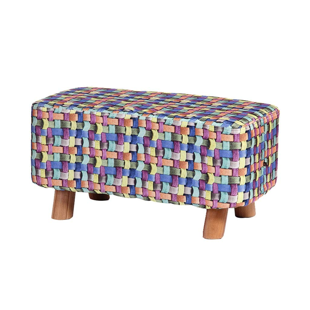 A Ailj Footstool, Living Room Fashion Creative shoes and Coffee Table Stool Solid Wood Long Stool 60  30  30cm 4 colors (color   C)