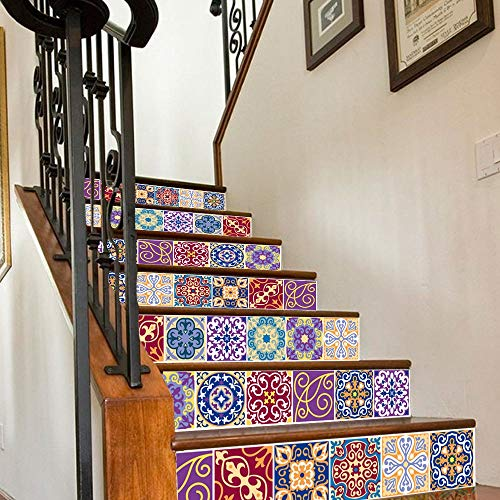 Jeash 6PCS Wave European Creative 3D Steps Self-Adhesive Sticker Removable Stair Sticker Home Decor Simulation Ceramic Tiles Patterns Art Stair Decals Mural Wallpaper for Home Decoration (C)