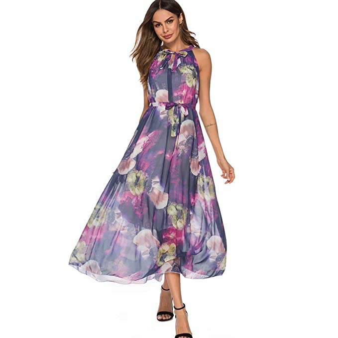 124f86dd7fd Women s Sleeveless Chiffon Print Floral Midi Dress with Sashes Purple Color  Size S