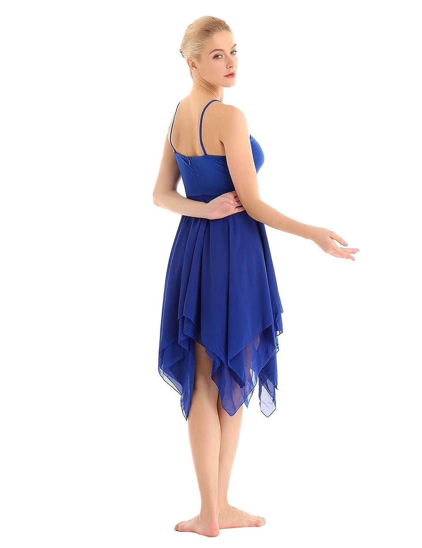 zdhoor Womens Spaghetti Strap Camisole Leotard Irregular Chiffon Ballet Lyrical Dance Dress Ballroom Costume