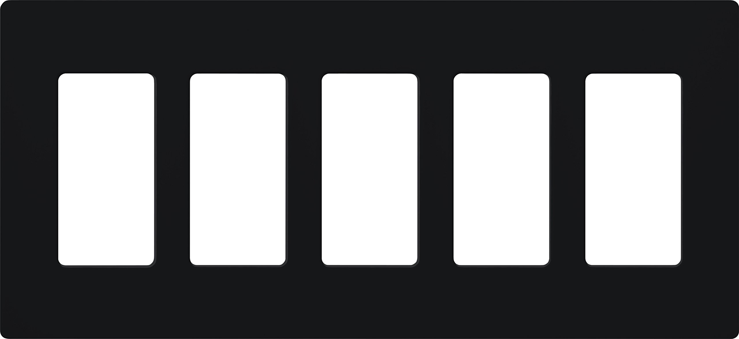 Lutron CW-5-BL Claro 5-Gang Wallplate, Black