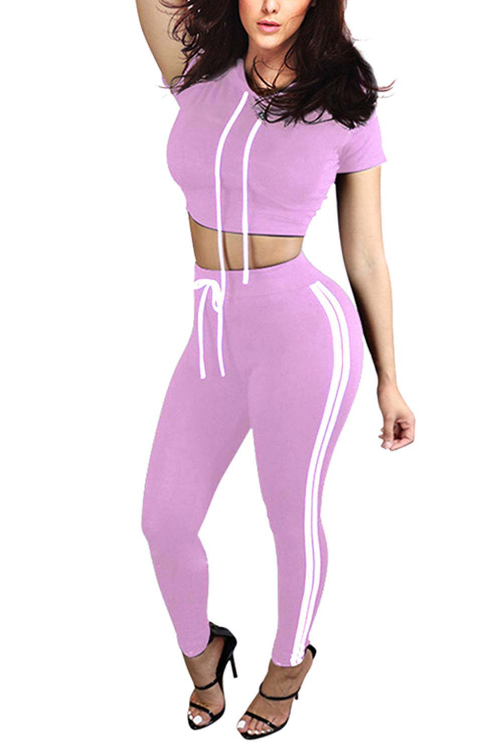 Pink Queen Women's Crop Top Top Stripe Leggings 2 Piece Workout Outfit XL Purple by Pink Queen
