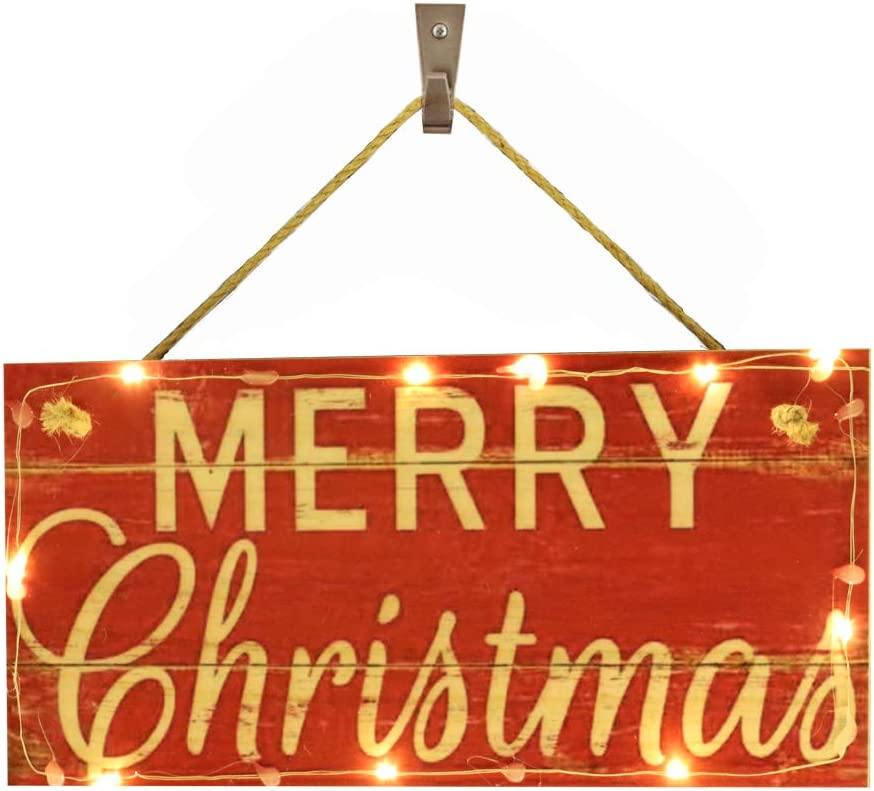 OYEFLY Hanging Lighted Glowing Merry Christmas Sign, Wood Plank Design Hanging Sign (Style 6)