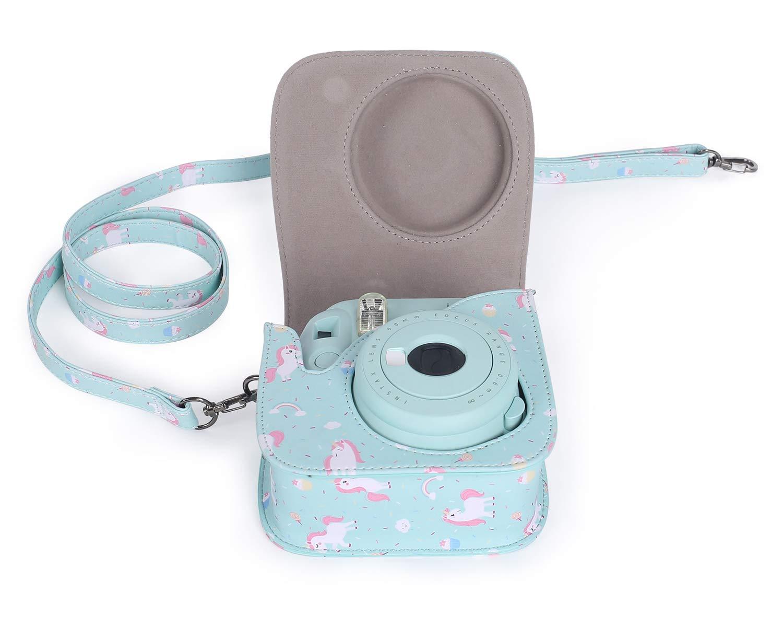 Dispone de Una Correa de Proteger y Bolsillo para Fujifilm Instax Mini 8 8+ Leebotree Bolsa de Transporte Fabricada en Cuero Mini 9 C/ámara instant/ánea Caballo Rosa