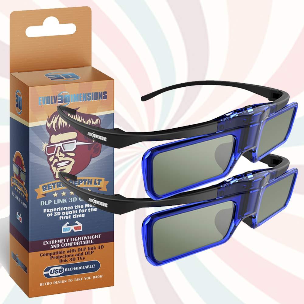 RetroDepth LT Lightweight Rechargeable DLP Link 3D Glasses for all DLP 3D Projectors (Benq, Optoma, Acer, Vivitek, Dell Etc) by Evolv3Dimensions (2 Pack)