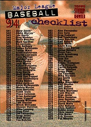 9b00b2ce5a Amazon.com: 1994 Topps Stadium Club Baseball Card #720 Checklist Mint:  Collectibles & Fine Art