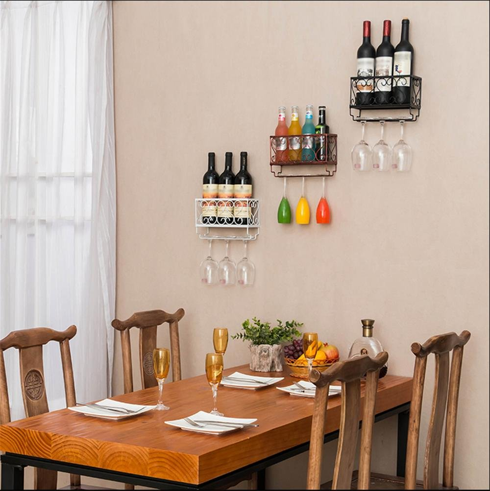 Wall Mounted Wine Rack Holder with Hanging Glass Storage, Holds 3 ...