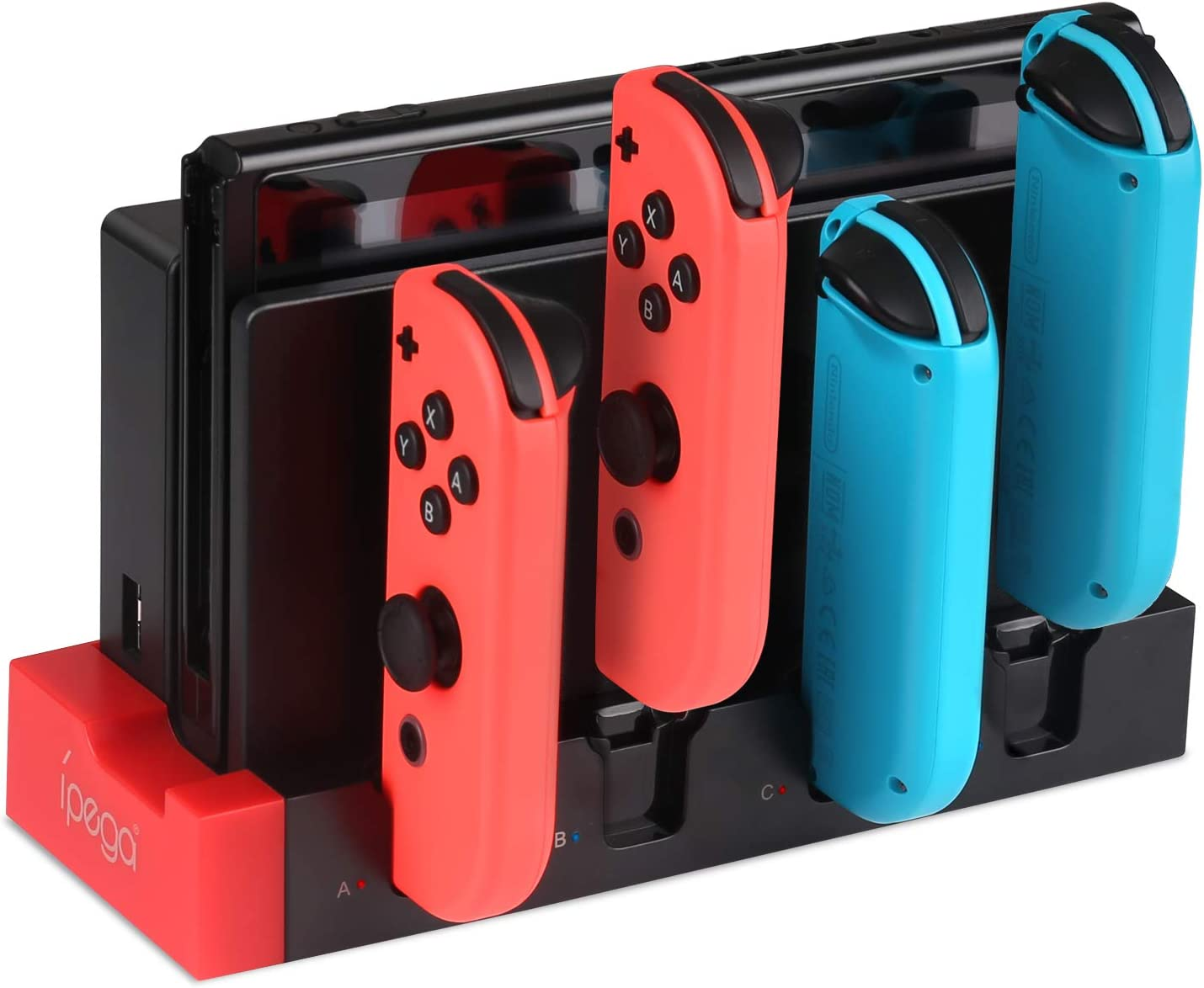 KINGTOP Charger for Nintendo Switch Joy-con, Controller Charging Dock Stand Charger Station Base for Switch Joy-con with Charging Indicator