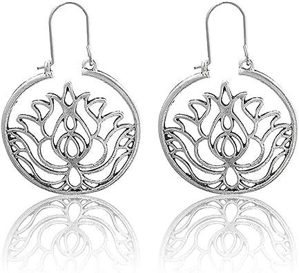 Valentine/'s Gift Bohemian Hollow Flower Mandala Hoop Earrings Jewelry For Women