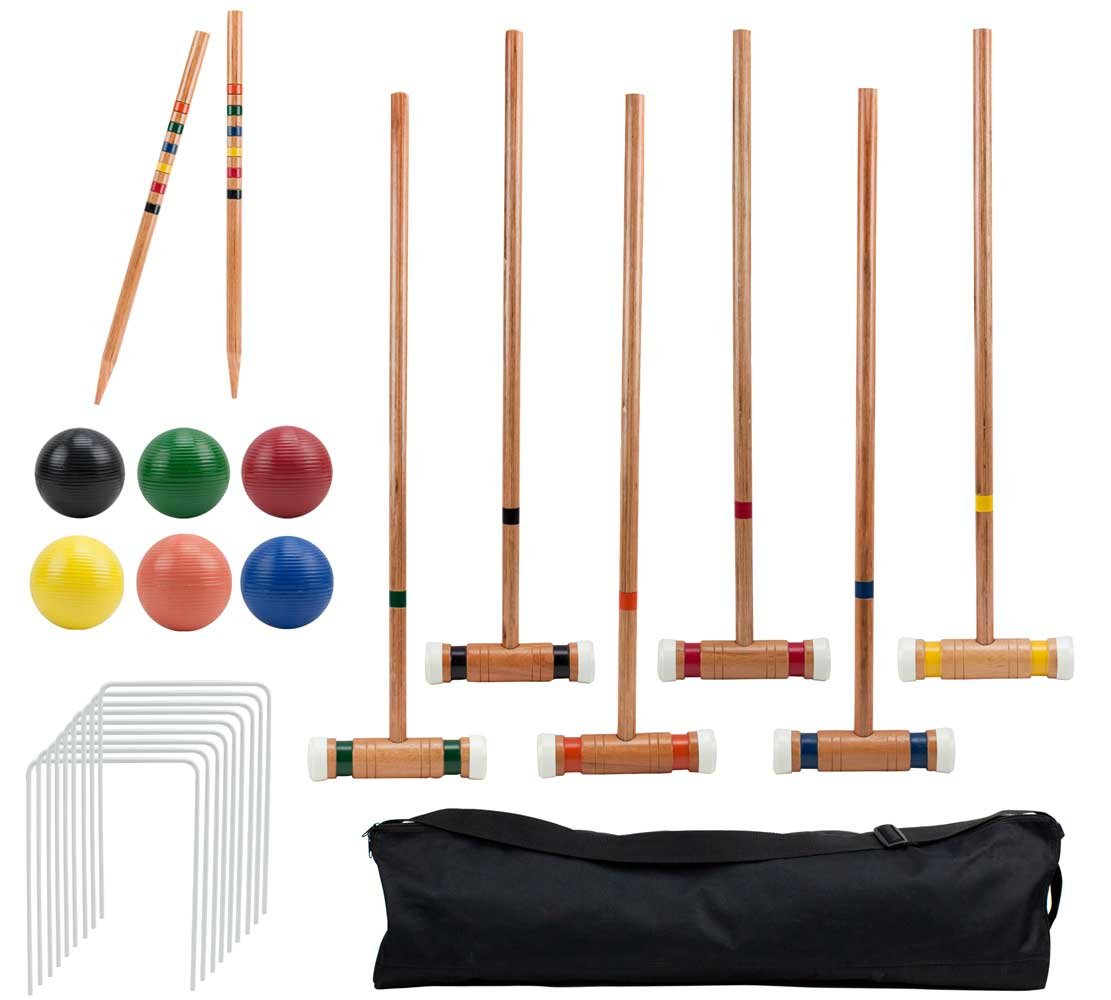 Crown Sporting Goods Six-Player Deluxe Croquet Set with Wooden Mallets, Colored Balls, Sturdy Carrying Bag - Classic Outdoor Yard Game by by Crown Sporting Goods