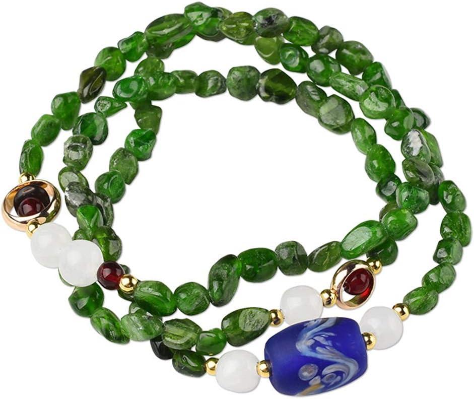 Pulsera Piedra Preciosa Natural Amatista Diópsido Irregular Jade Cristal Cuentas Tibetano Budista Meditación Multicapa Joyeria