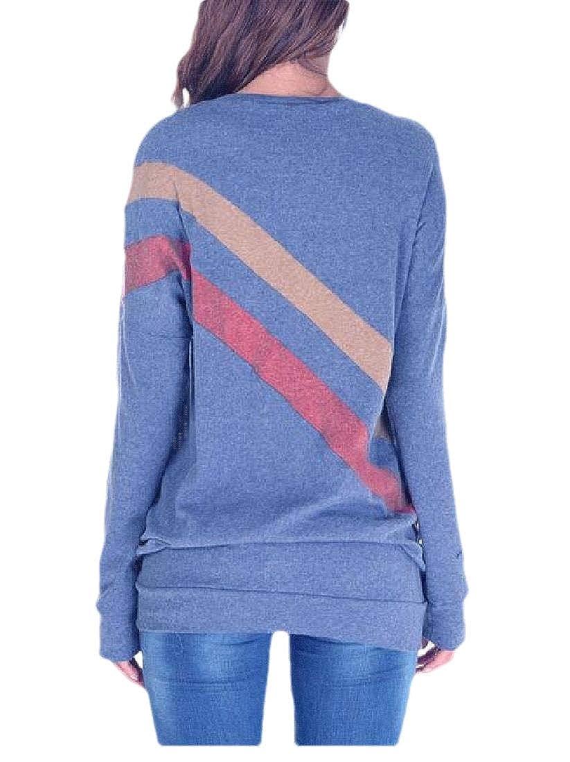 Macondoo Womens Outdoor Tee Pullover Stripe Contrast Color Long Sleeve Sweatshirts