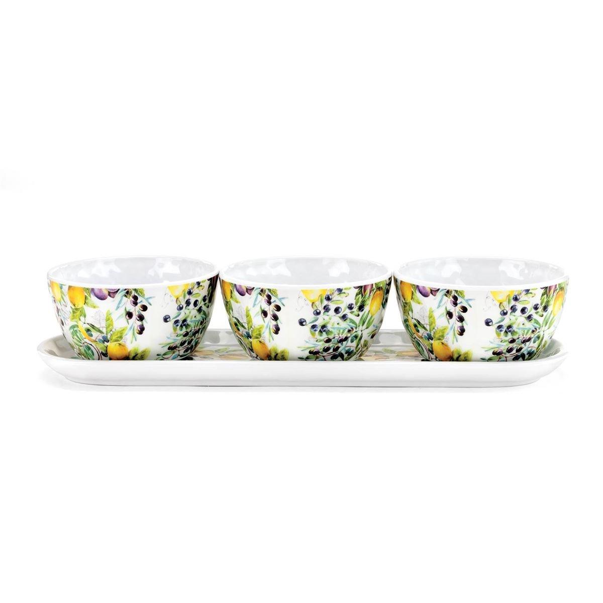 Michel Design Works Melamine Serveware Condiment Set, Tuscan Grove