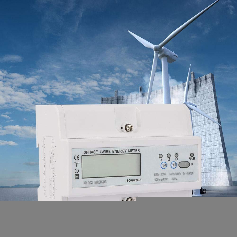 380V 10-40A KWh triphas/é sur rail DIN 220 consommation d/énergie haute pr/écision Compteur /électrique num/érique Compteur intelligent bicolore /à LED avec /écran LCD Compteur /électrique