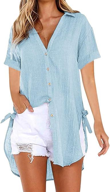 Blusas Femeninas Mujeres Botón Holgado Camisa Larga de Mujer Algodón Damas Casual Tops Camisa Blusa Damas Verano Cuello en V Profundo Nuevo: Amazon.es: Ropa y accesorios