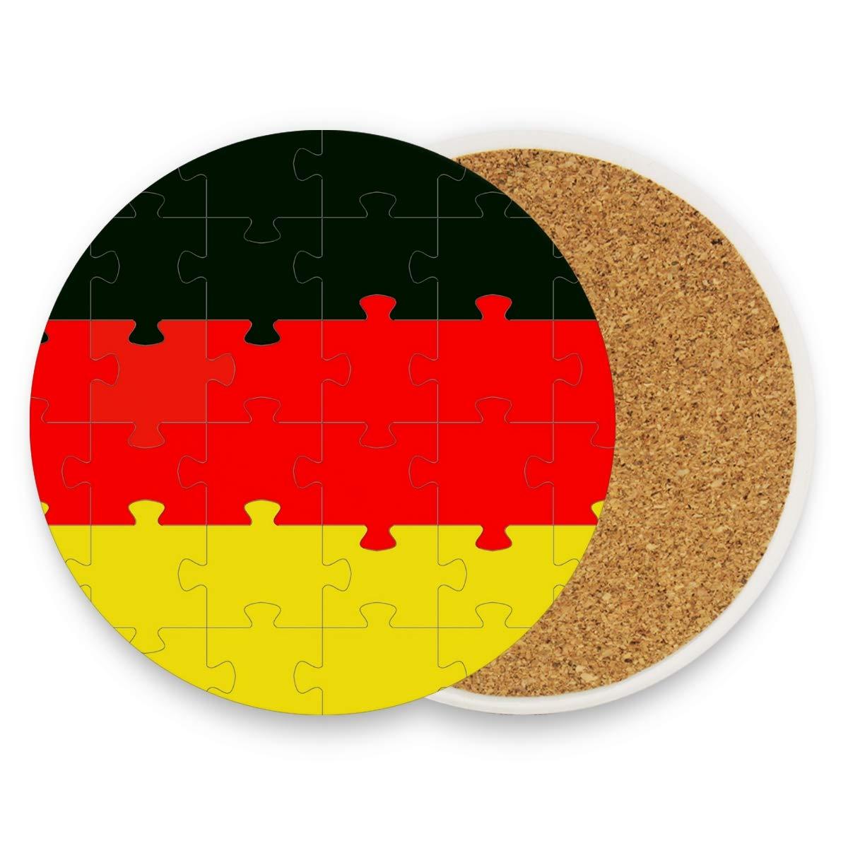 Dessous de verre motif drapeau allemand de Malplena - Grande taille de 8,9 cm - Convient à toutes les tasses - Pour la maison, la cuisine, la maison ou la cuisine, Bois, 1, 4 pieces set