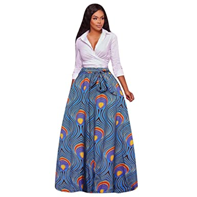 c8bfd69aa Sixcup Women's Dashiki Print Chiffon High Waist Party Boho Ankara Pleated  Retro Maxi Long Skirt Dress