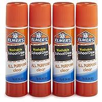 Barras de pegamento de la escuela de uso múltiple de Elmer, transparentes, lavables, paquete de 4, barras de 0.24 onzas