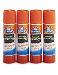 Elmer\'s All Purpose School Glue Sticks, Clear, Washable, 4 P...