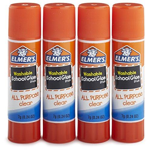 Elmer's All Purpose School Glue Sticks, Clear, Washable, 4 Pack, 0.24-ounce sticks