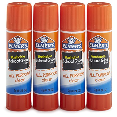 Elmer's All Purpose School Glue Sticks, Clear, Washable, 4 Pack, 0.24-ounce sticks -