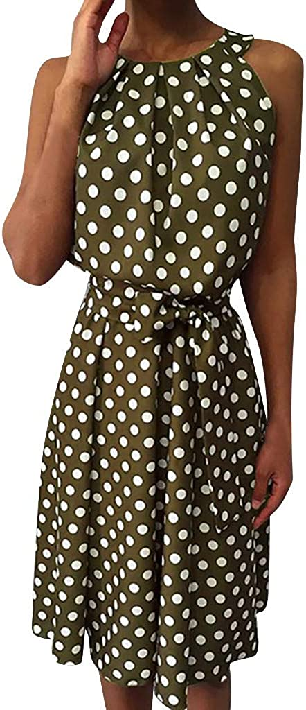RTYou Dress for Womens A-Line Mini Skirts Fashion Polka Dot Sleeveless Dresses Off Shoulder Casual Loose Dress with Belt