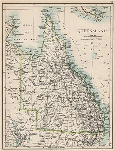 State map Brisbane Gold Coast Railways QUEENSLAND Australia JOHNSTON 1895