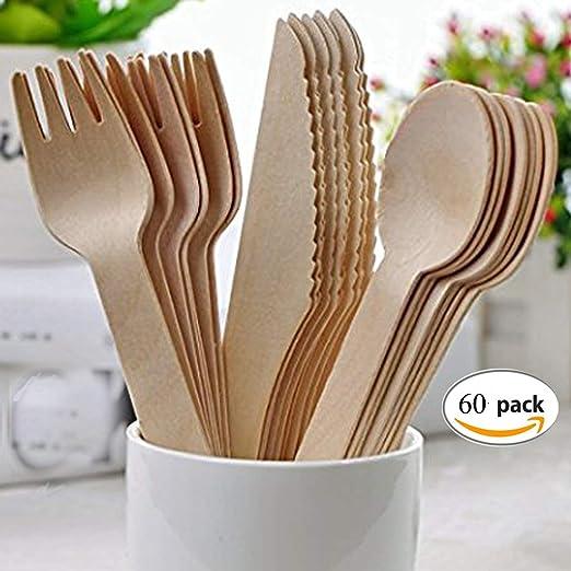 Mengger Cubiertos madera desechables vajilla biodegradables Juego ...