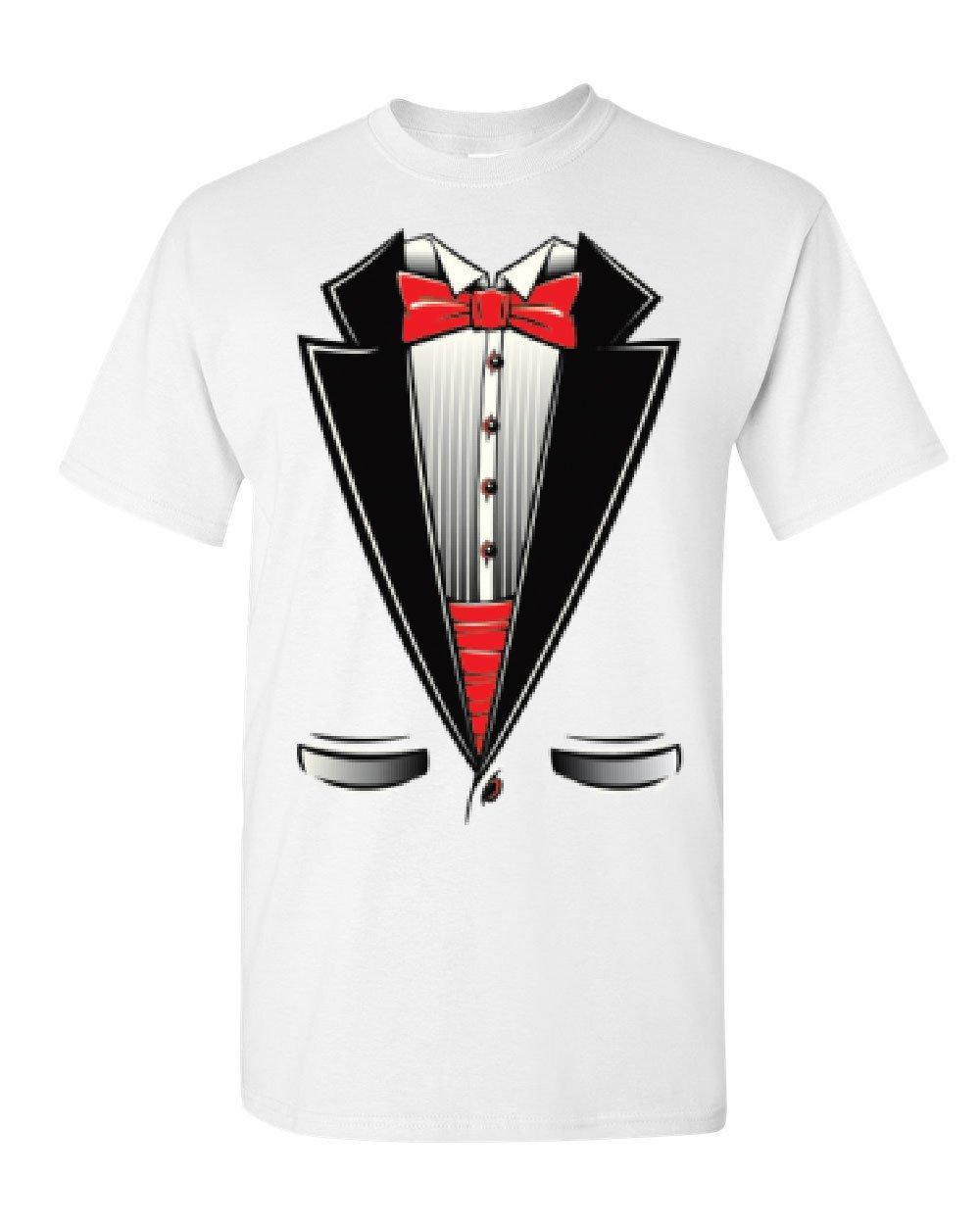 Funny Tuxedo Bow Tie T-Shirt Tux Wedding Party Tee Shirt White L