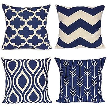 Amazon Com Fanhomcy Navy Blue Geometrict Throw Pillows