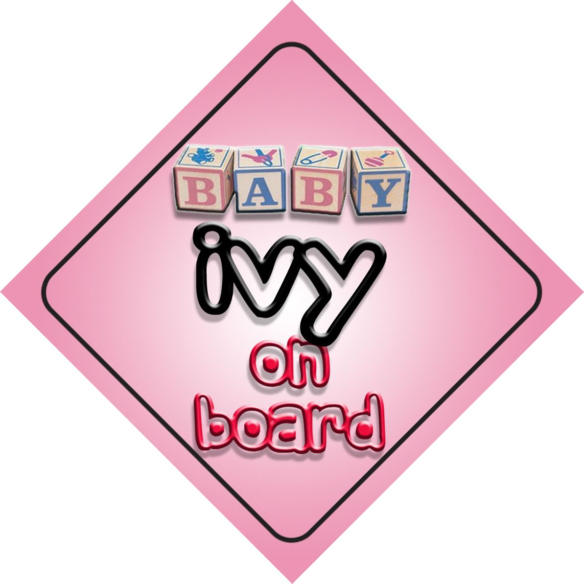 Baby Girl Ivy on board novelty car sign gift//present for new child//newborn baby