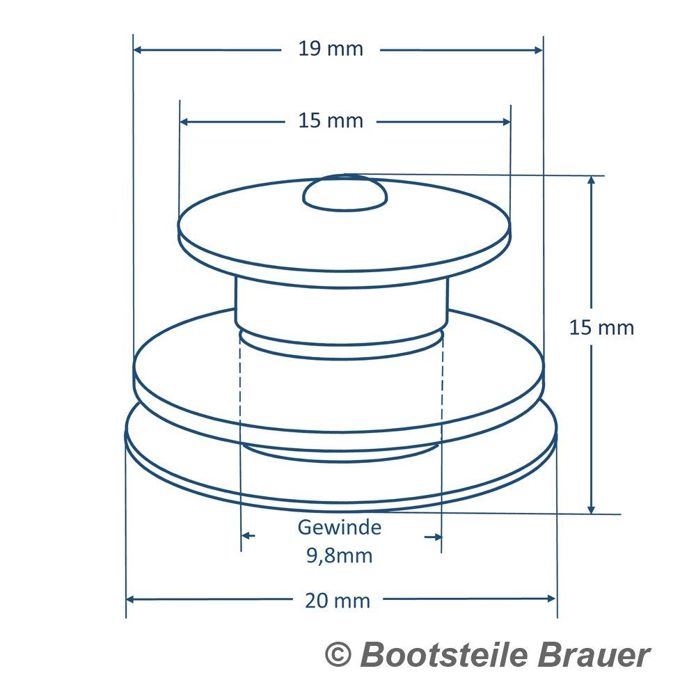 Bootsteile Brauer 2 St/ück LOXX Oberteil Knopf Gro/ß 15 mm Messing vernickelt