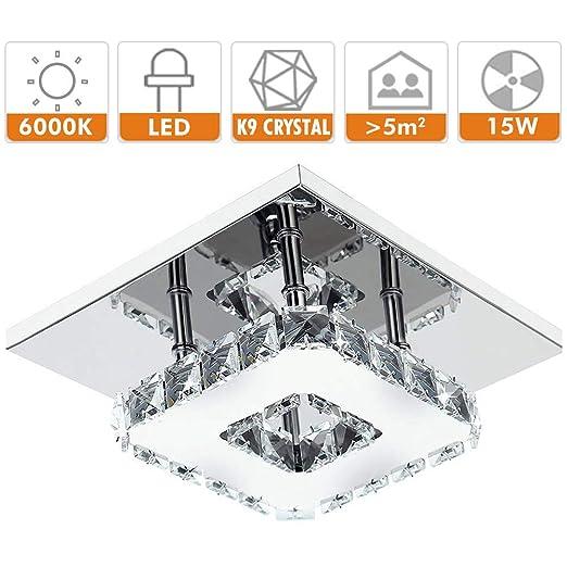 Fuloon Lámparas de techo led habitación modernas, Bulbo llevado lámpara de techo de cristal Escalera cuadrada Para Hall Salón Baño Dormitorio Salón ...