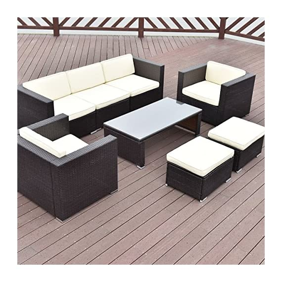Tangkula 8 Piece Outdoor Furniture Set Patio Garden Backyard Wicker Rattan Cushioned Seat Sectional Coversation Sofa Set, with Glass Top Coffee Table and Ottomans, Black - ❀Upgraded Quality with Concise Design: Equipped with 2 single sofa, 2 corner sofa, 1 armless sofa, 2 ottomans, and 1 coffee table, it is made up with galvanized steel frame and rattan material with thick yet soft sponge cushions ensuring a long lifetime. Its upgraded quality surely guarantees you a long lasting using satisfaction. ❀Easy Carry for Its Lightweight: Made of lightweight rattan material, it can be carried easily and labor-efficiently to the desired place. Its compact structure and beautiful texture can surprisingly highlight your patio or poolside decor, perfect for a big family party or gathering for a conversation. ❀Easy Cleaning and Quick Wash: You can clean it easily with just a wipe when there is water strain on its tempered glass. The separable and removable seat cushions also enable you a quick wash. It can be well entertain your guests or friends. You can spend a wonderful time with each other. - patio-furniture, patio, conversation-sets - 61CTYMBHBhL. SS570  -